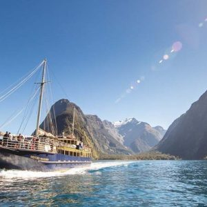 cruise ship on milford sound
