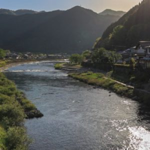 gifu village and mountain landscape