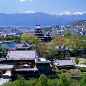 view of Matsumoto city with Japanese alps