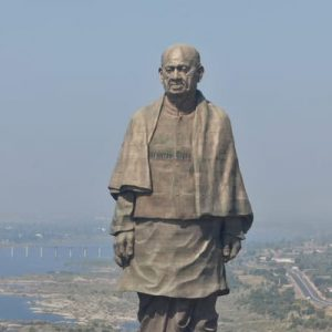 aerial view of the statue of unity