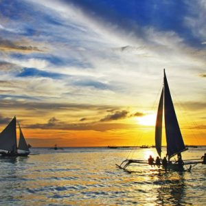 sunset sailing in Boracay