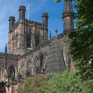 a view of the upper exterior of the Chester Cathedral