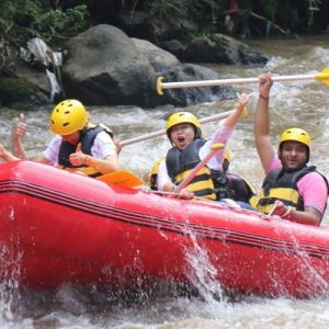 people rafting down the rapids of the Ayung River in Bali