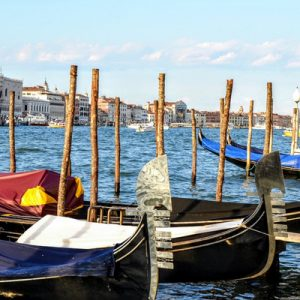 a row of gondolas on the waters in venice
