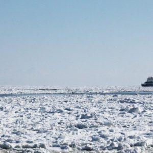 boat navigating in ice