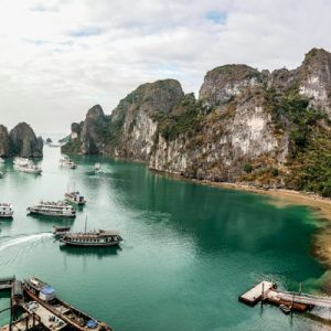 boats along halong bay