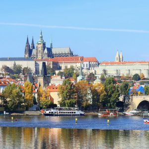 panoramic view of prague and its river