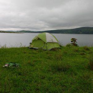 tent and lake