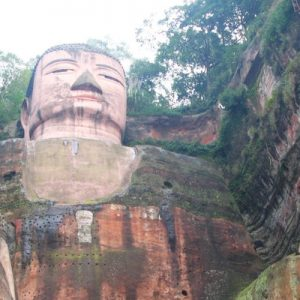 a view of the Leshan Giant Buddha from below