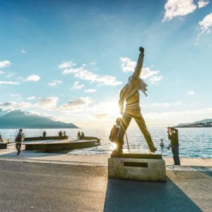 freddie mercury statue at montreux boardwalk
