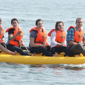 people riding banana boat panjim jetty goa