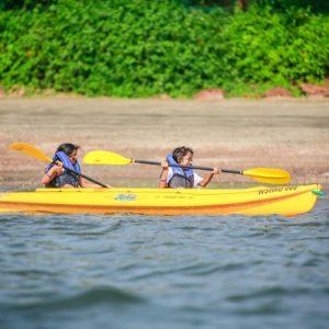 tourists enjoy paddling in goa