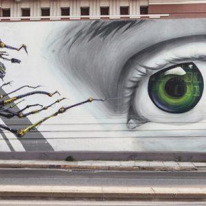 street mural of an eye