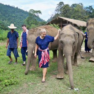 people with elephants