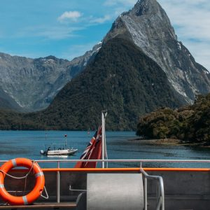 mountains and water during milford sound cruise