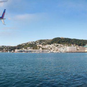 a helicopter near the coast of Wellington