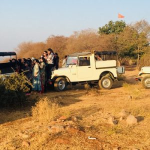 a line of jeeps at the Aravali summit
