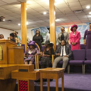 gospel choir singing at worship service
