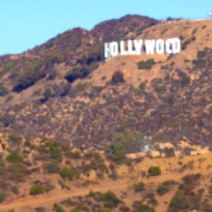 a view of the Hollywood sign and the James Dean bust