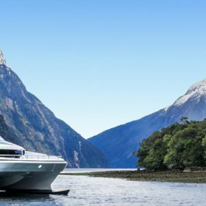 a catamaran somewhere along the Milford Sound