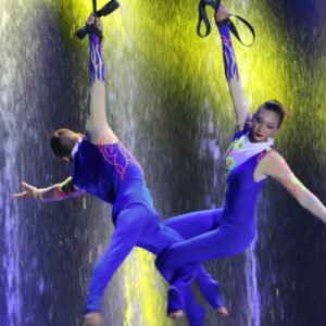 performers doing a stunt at jeju water sky show