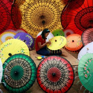 mahamuni pagoda umbrellas mandalay myanmar