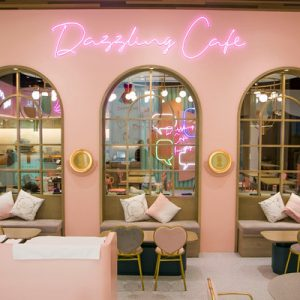 interiors of dazzling cafe in Hong Kong