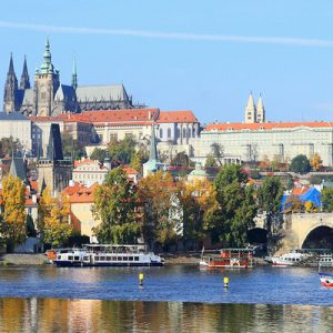 prague castle with trees for the prague day tour