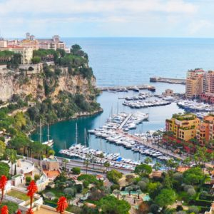 aerial shot of monaco landscapes