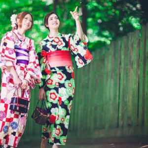 tourists wear a kimono in fukuoka