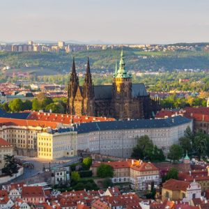 birds eye view of the entire prague city
