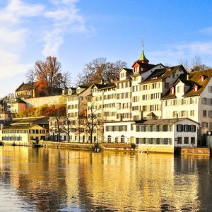 view of zurich city from the waters