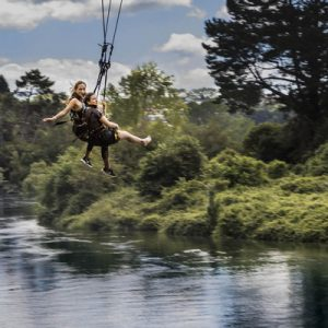 two women on extreme swing