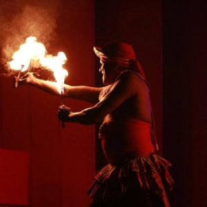 Fire dancers on stage