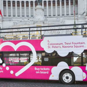 pink i love rome hop on hop off bus