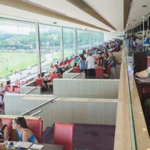 view of spectator and dining area at singapore turf club