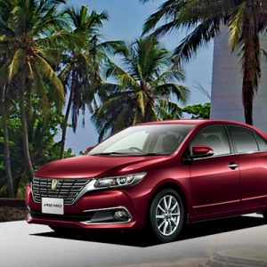 red hybrid hatchback premio