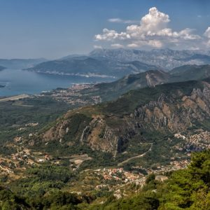 a view of the Bay of Kotor area in Montenegro