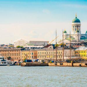 buildings and ferris wheel in downtown Helsinki