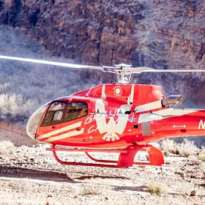a King of Canyons helicopter parked somewhere in the Grand Canyon