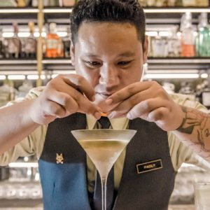 bartender making drink at cin cin bar