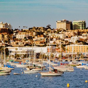 a view of San Diego and its bay; there are lots of yachts