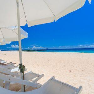 rows of beach chairs on a beach