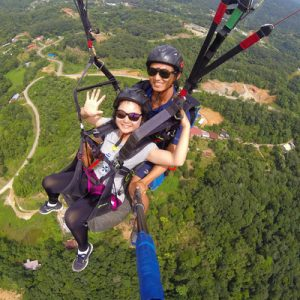 woman paragliding
