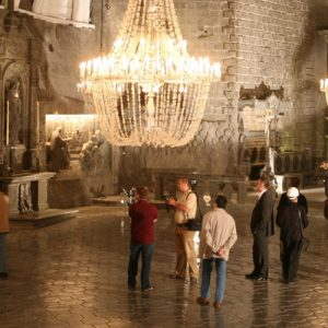 a chamber with chandeliers in the Wieliczka Salt Mines