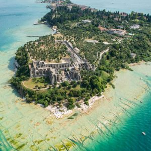 aerial shot of sirmione