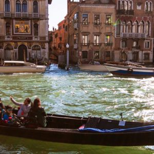 a gondola cruising along the Grand Canal