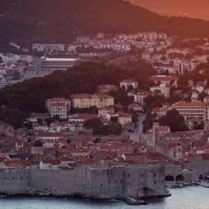 a view of Dubrovnik during dusk