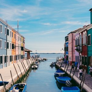 colorful houses with a canal in the middle in burano