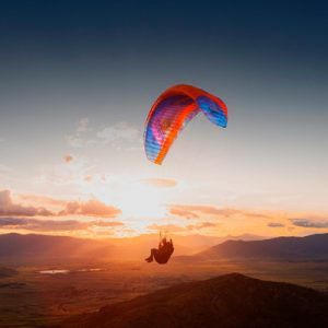 paraglider and sunset
